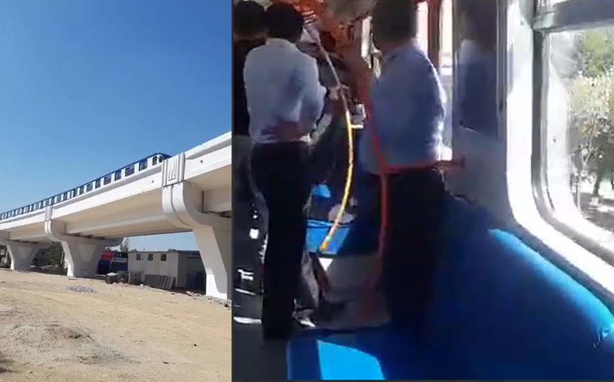 Тошкент ер усти метро йўлида илк синов қатнови тасвирга олинди (видео)